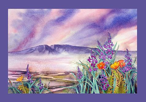 """Sleeping Lady Sunset"" Fabric Art Panel"