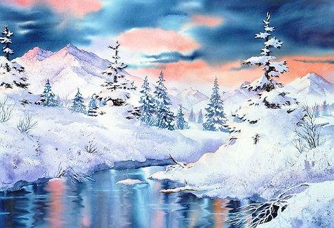 """Campbell Creek Impression"" Fabric Art Panel"