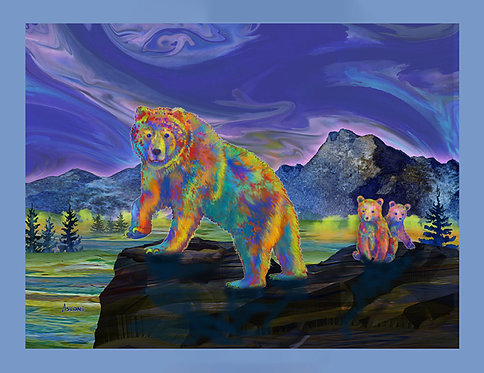 """""""Grizzly Bear & Cubs"""" Fabric Art Panel"""