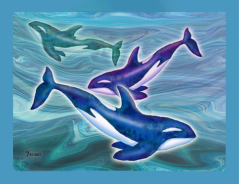 """""""Whale Whimsey"""" Fabric Art Panel"""