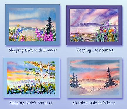 """The Sleeping Lady Collection"" Fabric Art Panel Set"