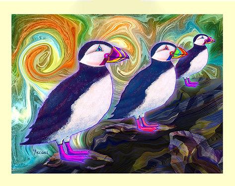"""Purple Puffins"" Fabric Art Panel"