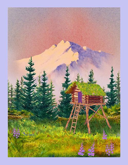 """Alaska Cache"" Fabric Art Panel"