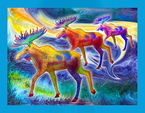 """Moose Mystique"" Fabric Art Panel"