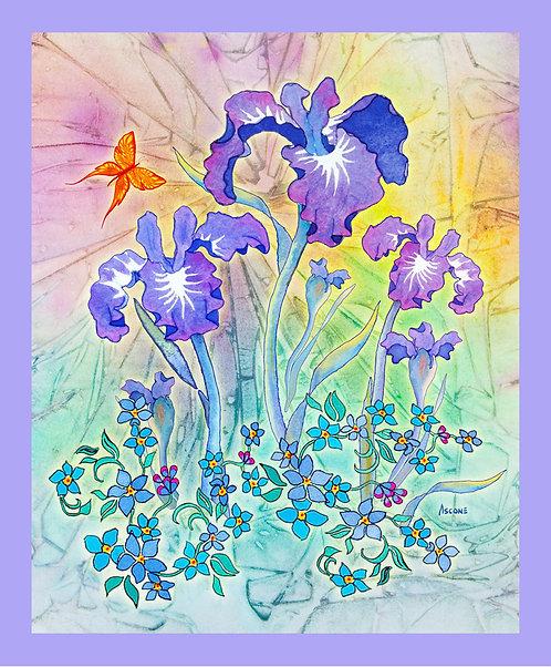 """Iris Bouquet"" Fabric Art Panel"