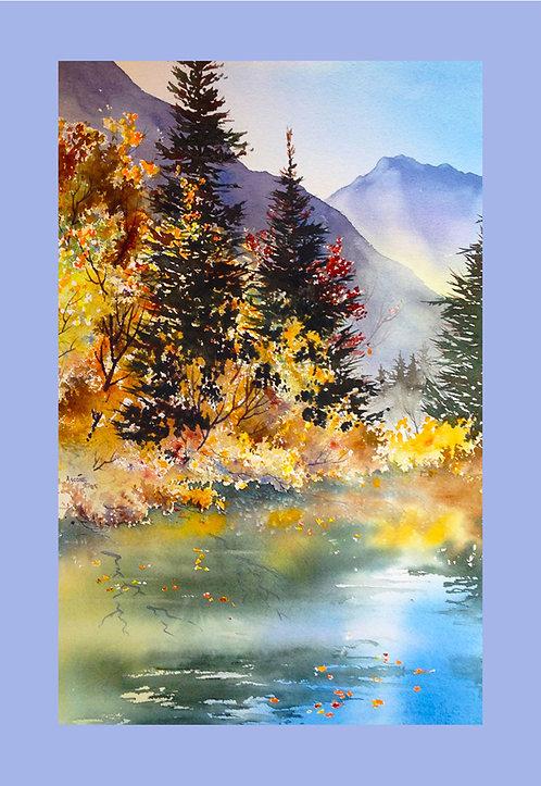 """Mountain Lake"" Fabric Art Panel"