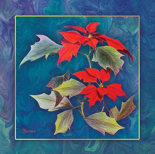 """Poinsettias"" Fabric Art Panel"