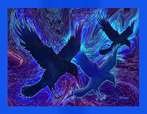 """Ravens on Blue"" Fabric Art Panel"