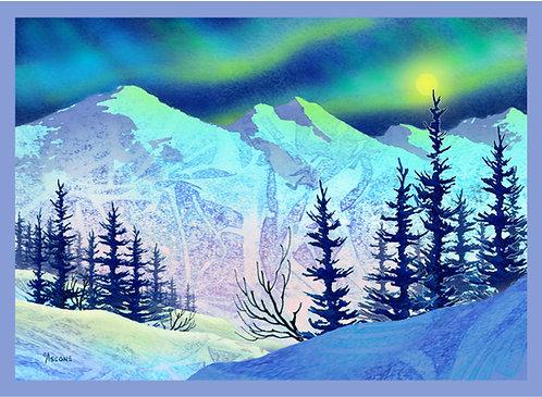 """Glacier Aurora"" Fabric Art Panel"