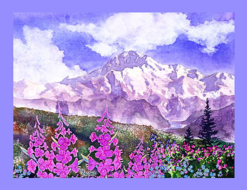 Denali with Fireweed