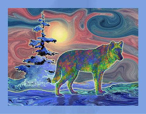 """Wolf Gaze"" Fabric Art Panel"