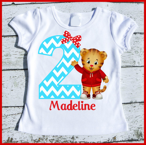 Customized Super Cute Girly Daniel The Tiger Birthday Tee Shirt