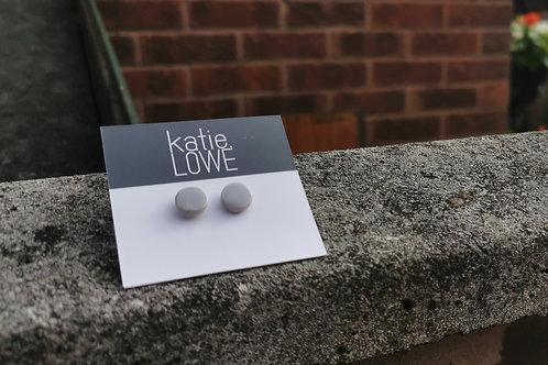 circle glazed grey stud earrings.