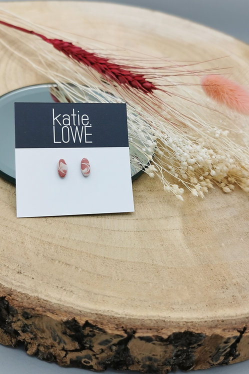 Small Pink Marble Earrings