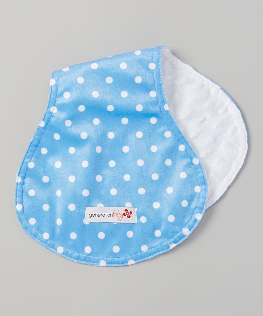 blue polka dot burp cloth minky