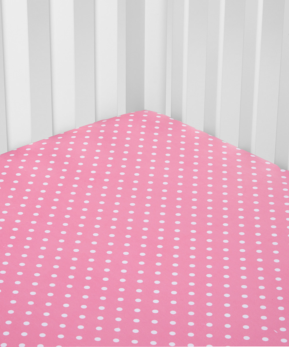 pink polka dot minky crib sheet