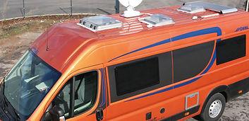 Wohnmobil orange vollautomatische Satanl