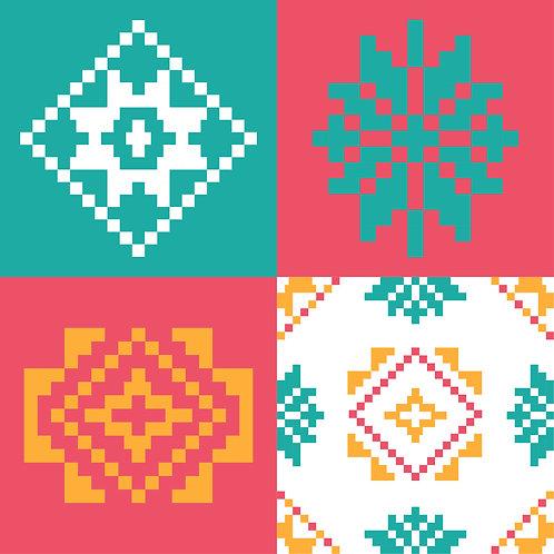 Hoa văn dân tộc phát triển pixel 005