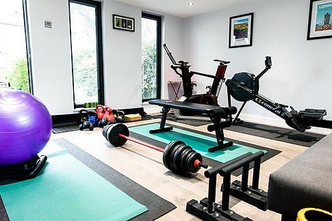 clean spacious gym, weights, equipment