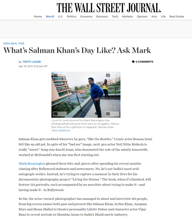 What's Salman Khan's day like? Ask Mark -  THE WALL STREET JOURNAL