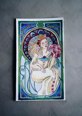 Pastisch inspirerad av Alphonse Mucha
