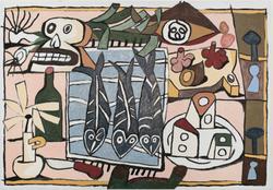 (still life with) Skull, fish and leeks