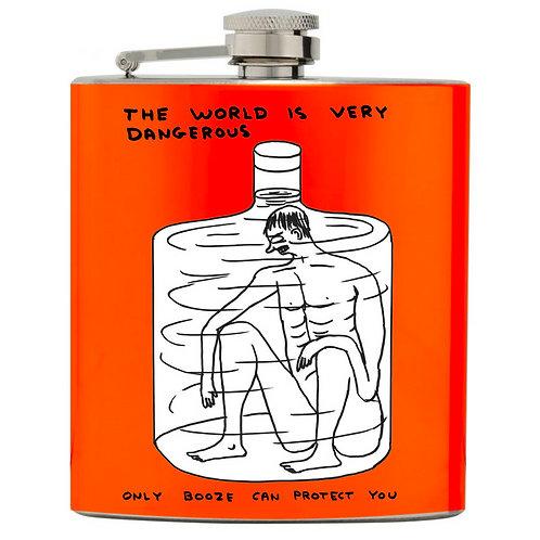 "David Shrigley "" The World Is Very Dangerous Hip Flask"""