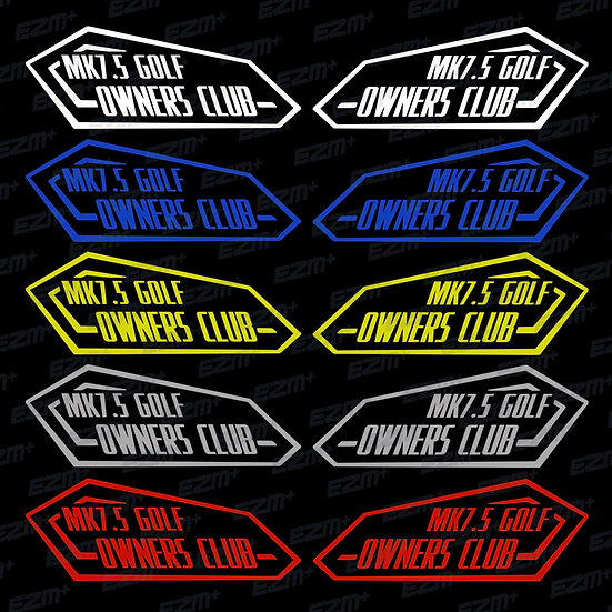 MK7.5 Golf Owners Club - Window Decals