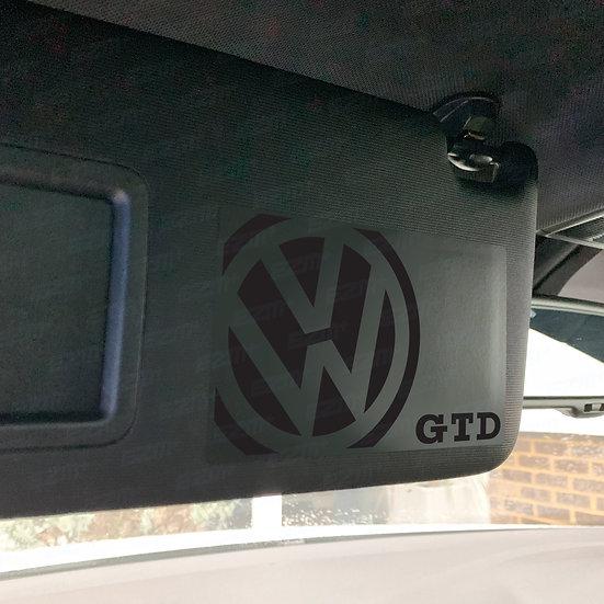 Sun Visor 'Airbag Warning' Delete Decals x 2 for VW Golf MK7 MK7.5 GTD