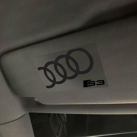 EZM Sun Visor 'Airbag Warning' Delete Decals x 2 for Audi S3 8V