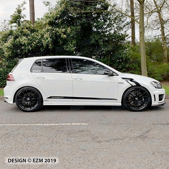 EZM Side Stripe Decals x 2 for VW Golf MK7 / MK7.5 Facelift R / GTD