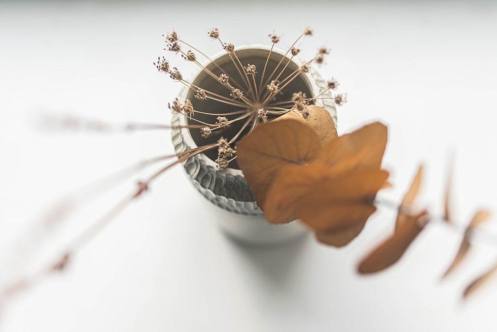Céramique et fleurs séchées