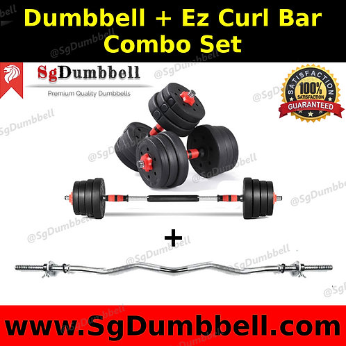 Dumbbell-Barbell EZ Curl Bar combo set