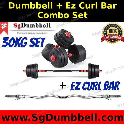 30KG Dumbbell-Barbell EZ curl bar combo