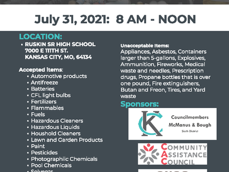 JULY 31 - 6th District Household Hazardous Waste Collection