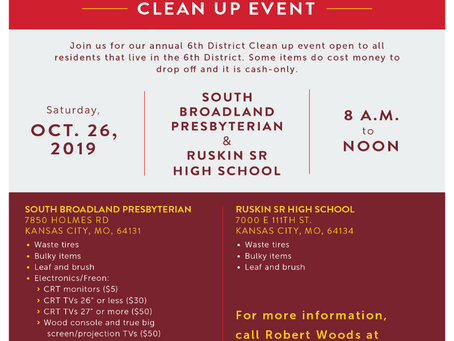 6th District Clean-Up Event scheduled for Saturday, October 26