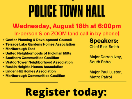 Police Town Hall scheduled for August 18