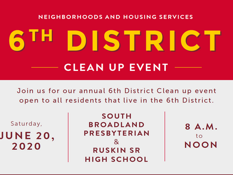 Sixth District Clean-Up Event set for June 20