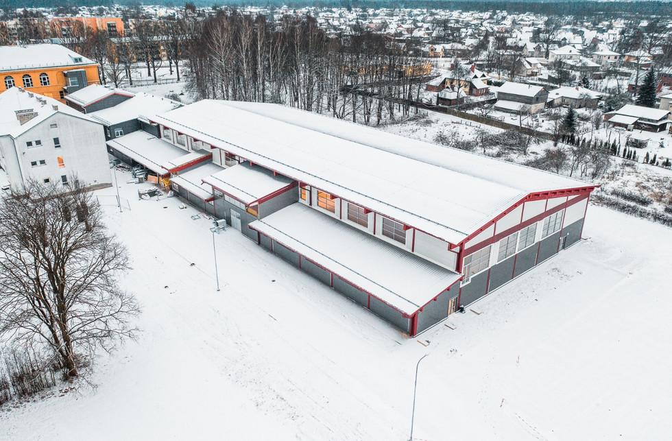 Valmieras Viestura vidusskola, Valmiera, Latvija. Sporta zāles būvniecība