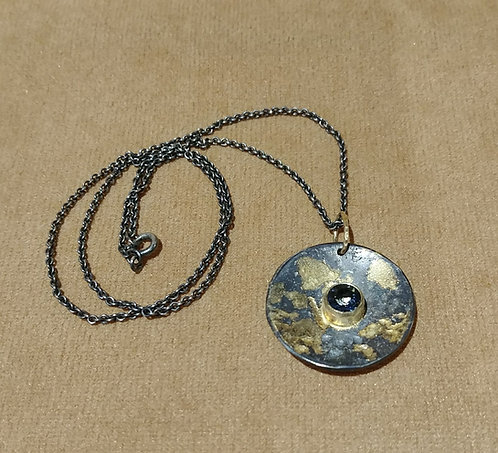 Oxidized Sterling & 14kt Gold pendant with Topaz