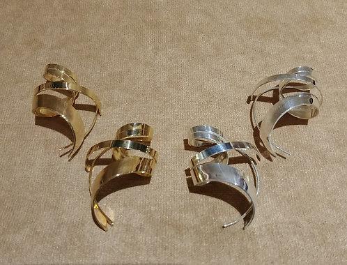 Gold Vermeil or Sterling silver Ribbon Earrings