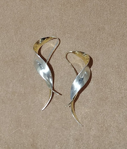 14kt Gold & Sterling Silver Twist Earrings