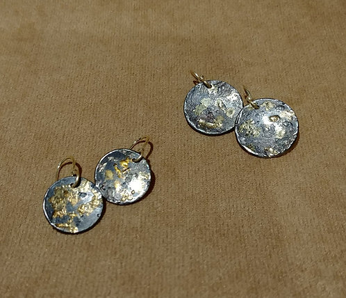 Oxidized Sterling and 14kt Gold Earrings