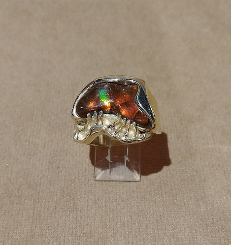 14kt Gold Ring with Mexican Fire Agate