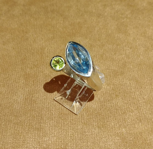 Light Blue Topaz and Peridot Ring