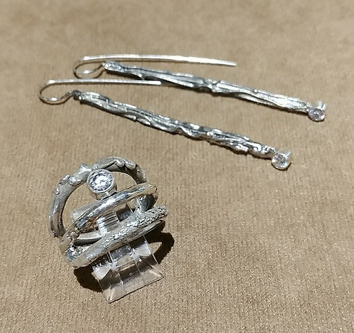 Twig Ring & Earrings in Sterling & CZ