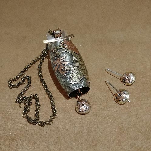 Bonsho Bell Pendant and Earrings