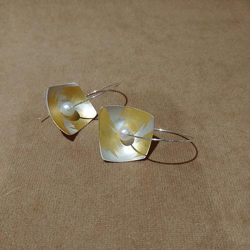 Sterling & 23kt Gold Hoop Earrings