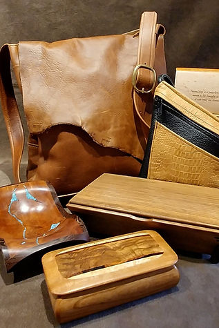 Leathe handbags & wooden boxes