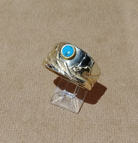 14kt Yellow and White Gold Ring with Turquoise